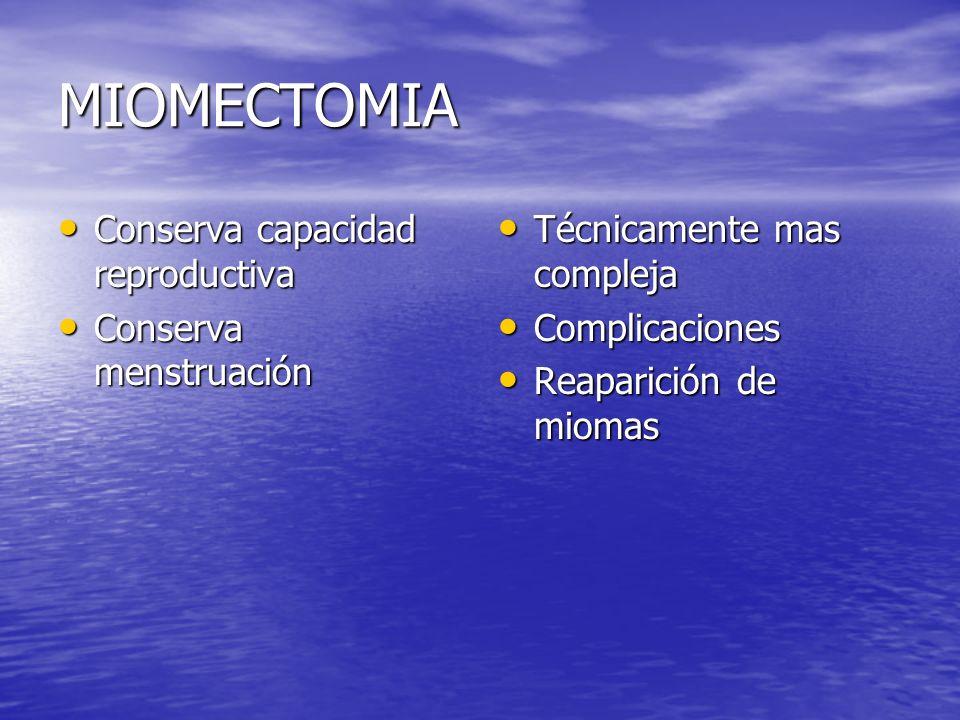 MIOMECTOMIA Conserva capacidad reproductiva Conserva menstruación