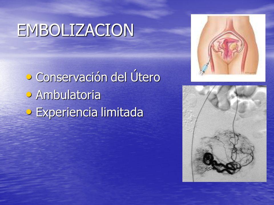 EMBOLIZACION Conservación del Útero Ambulatoria Experiencia limitada
