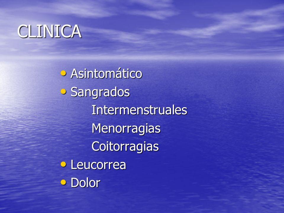 CLINICA Asintomático Sangrados Intermenstruales Menorragias