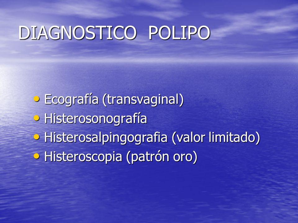 DIAGNOSTICO POLIPO Ecografía (transvaginal) Histerosonografía