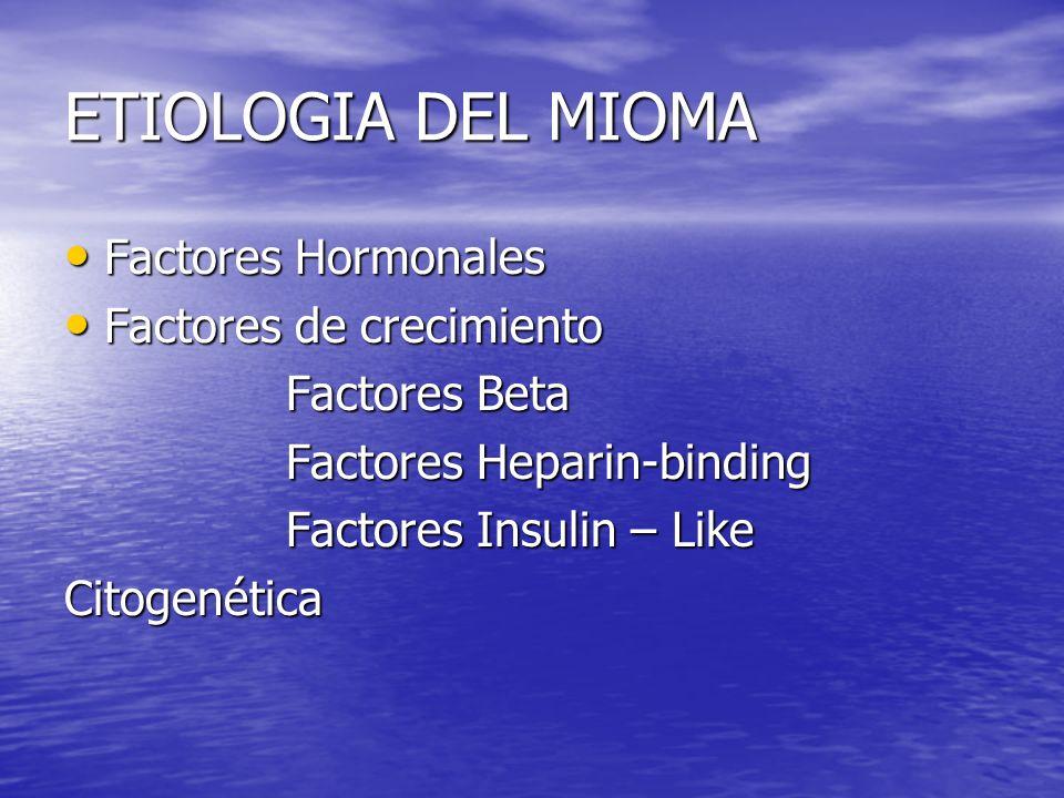 ETIOLOGIA DEL MIOMA Factores Hormonales Factores de crecimiento