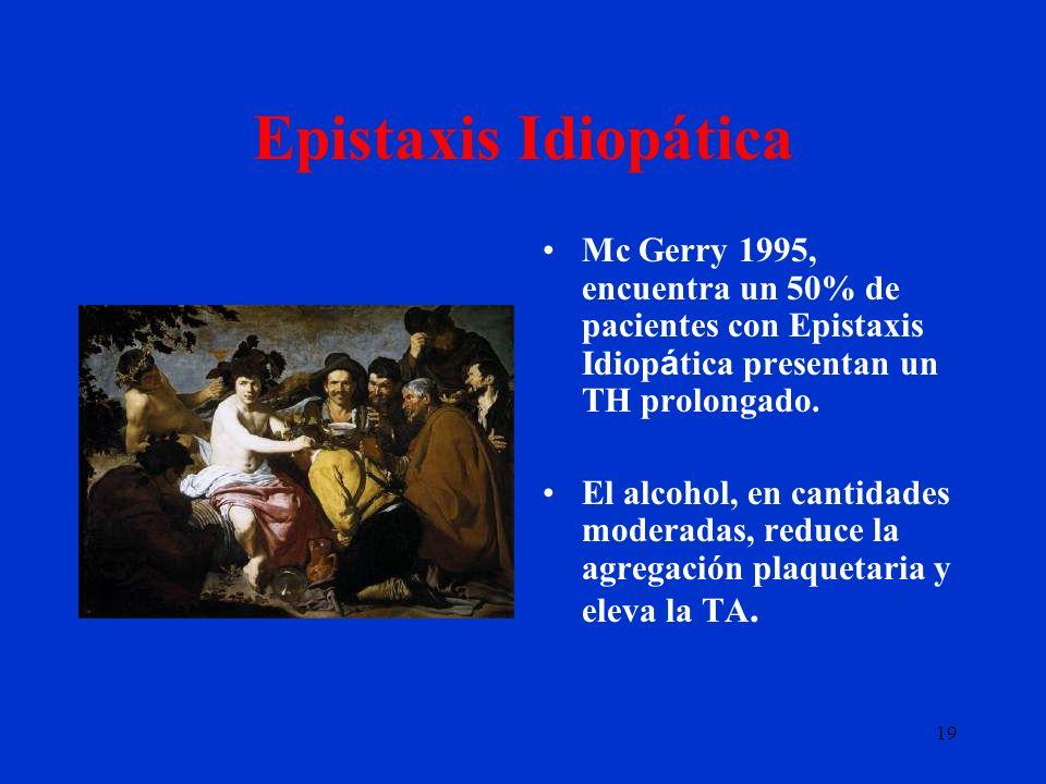 Epistaxis Idiopática Mc Gerry 1995, encuentra un 50% de pacientes con Epistaxis Idiopática presentan un TH prolongado.