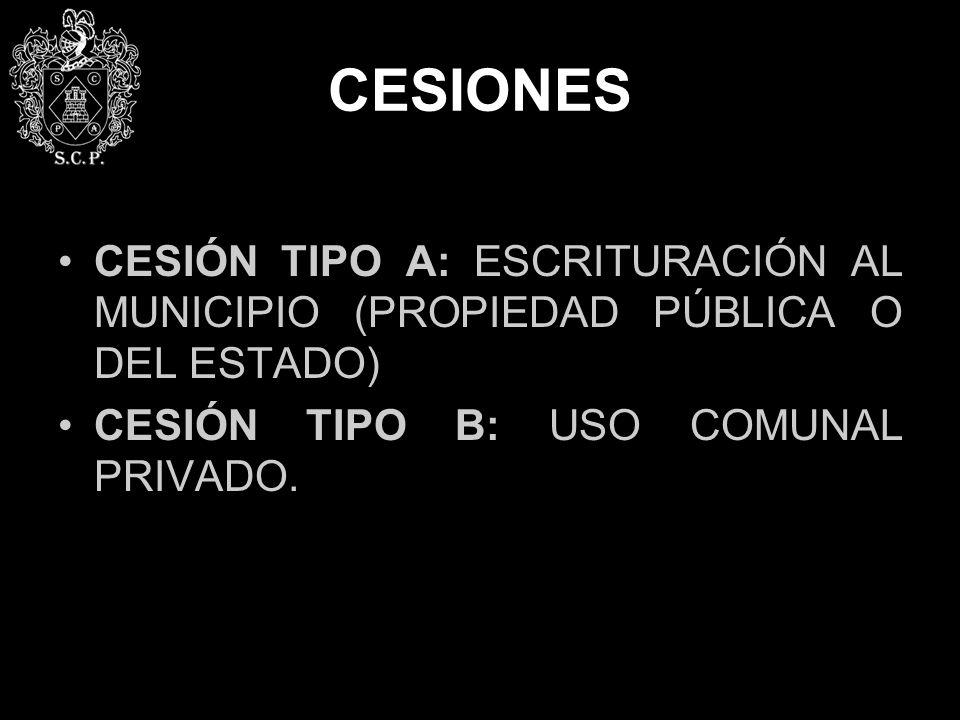 CESIONES CESIÓN TIPO A: ESCRITURACIÓN AL MUNICIPIO (PROPIEDAD PÚBLICA O DEL ESTADO) CESIÓN TIPO B: USO COMUNAL PRIVADO.