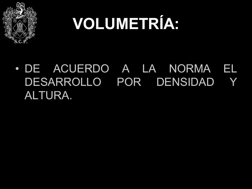 VOLUMETRÍA: DE ACUERDO A LA NORMA EL DESARROLLO POR DENSIDAD Y ALTURA.
