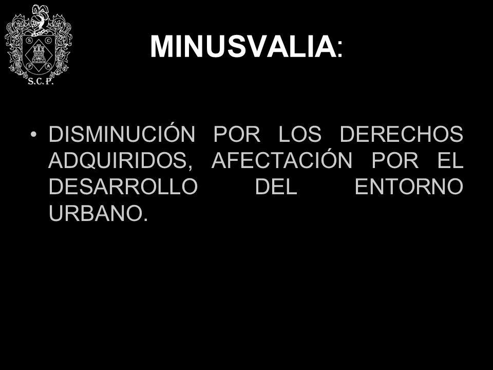 MINUSVALIA: DISMINUCIÓN POR LOS DERECHOS ADQUIRIDOS, AFECTACIÓN POR EL DESARROLLO DEL ENTORNO URBANO.