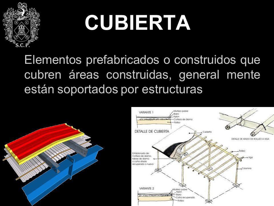 CUBIERTA Elementos prefabricados o construidos que cubren áreas construidas, general mente están soportados por estructuras.