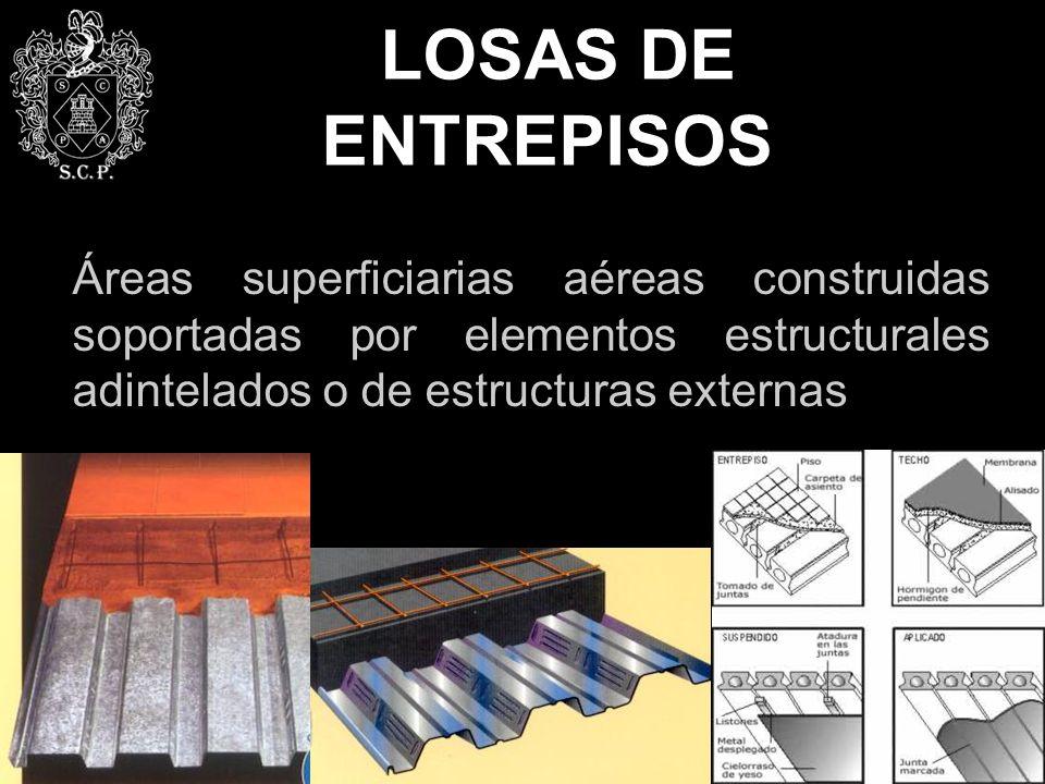 LOSAS DE ENTREPISOS Áreas superficiarias aéreas construidas soportadas por elementos estructurales adintelados o de estructuras externas.