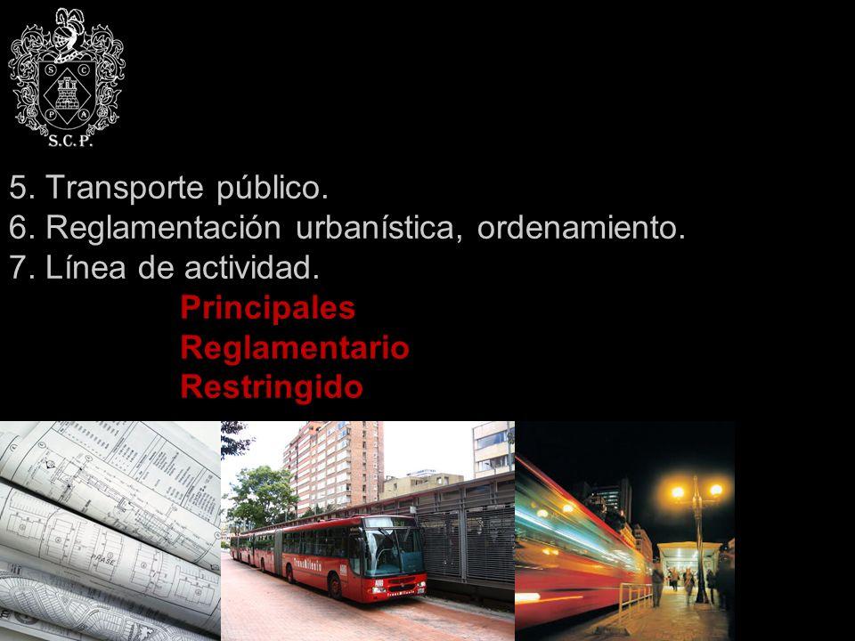 5. Transporte público. 6. Reglamentación urbanística, ordenamiento. 7