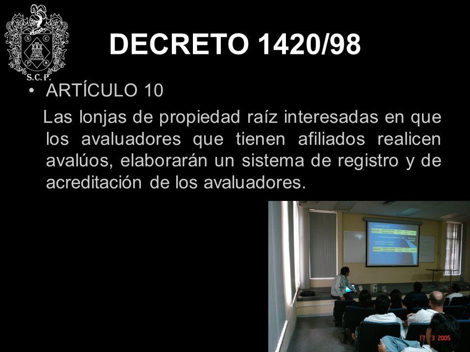 DECRETO 1420/98 ARTÍCULO 10.