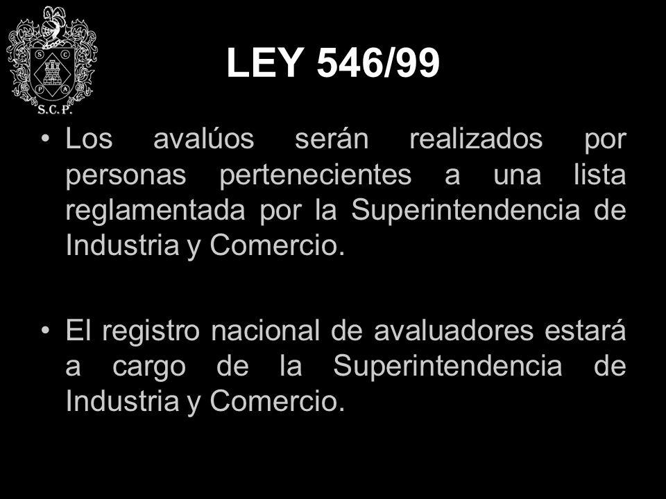 LEY 546/99 Los avalúos serán realizados por personas pertenecientes a una lista reglamentada por la Superintendencia de Industria y Comercio.