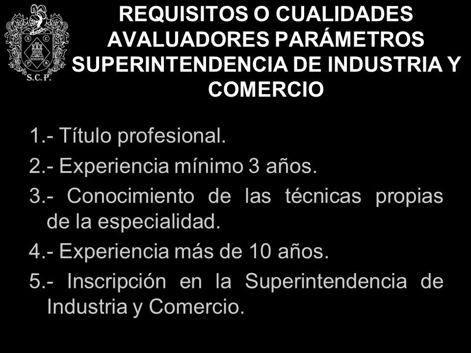 REQUISITOS O CUALIDADES AVALUADORES PARÁMETROS SUPERINTENDENCIA DE INDUSTRIA Y COMERCIO