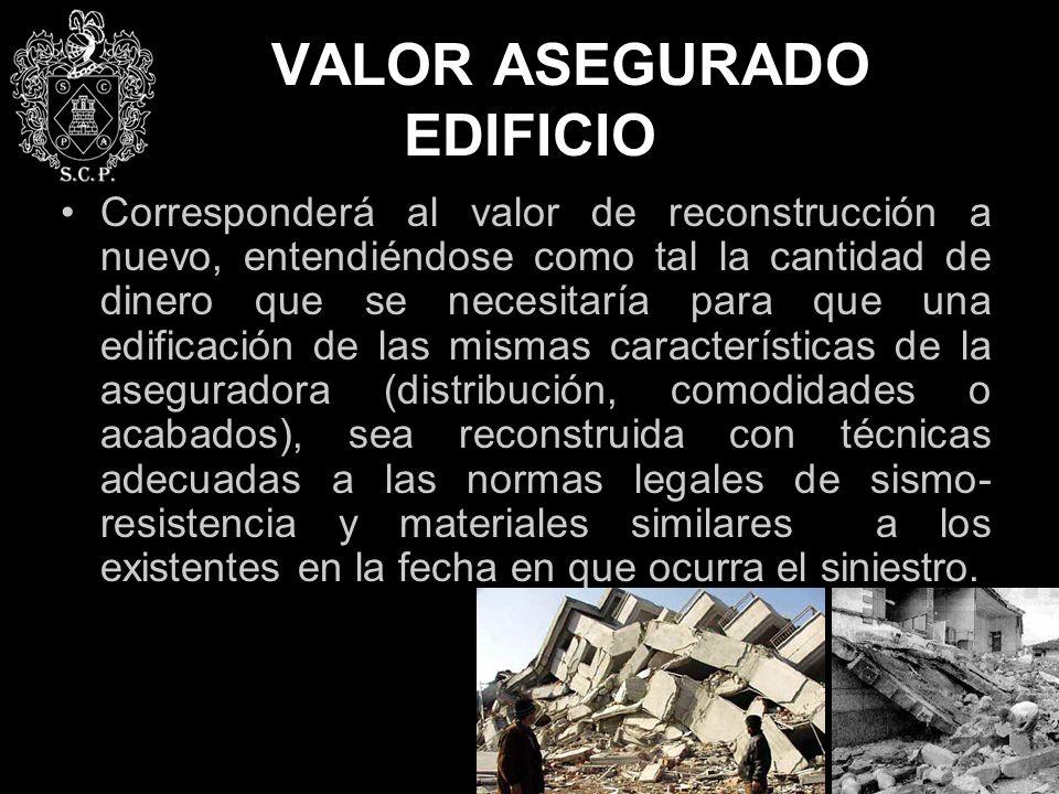 VALOR ASEGURADO EDIFICIO