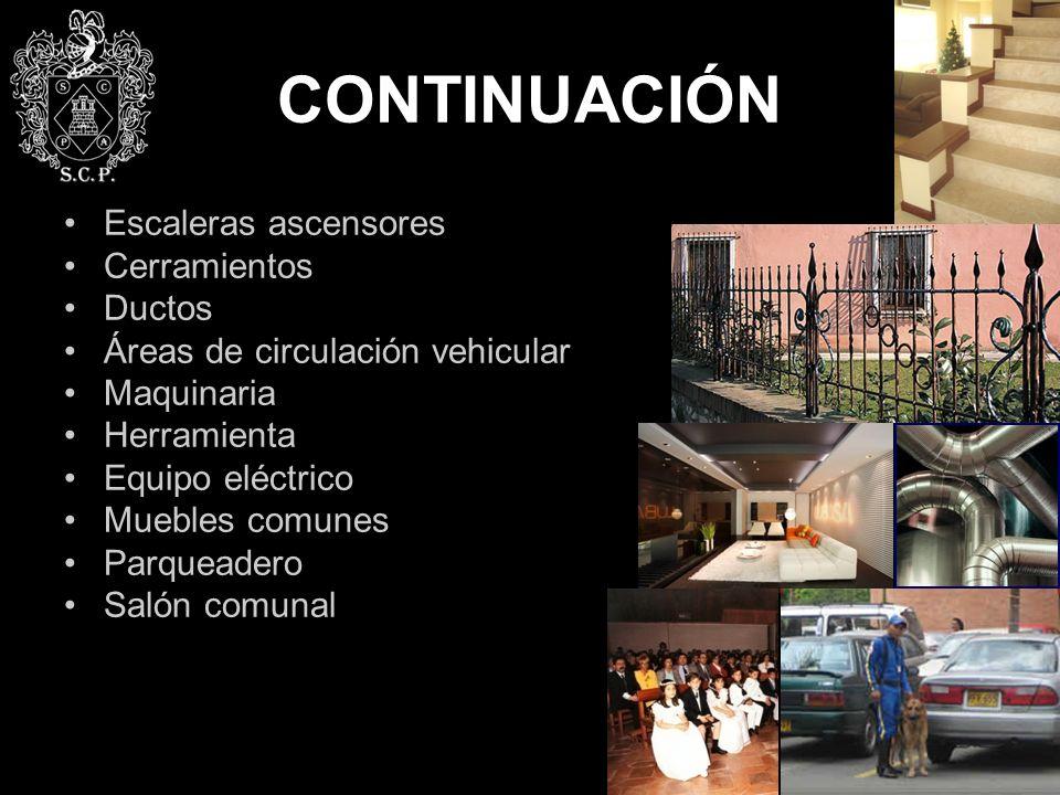 CONTINUACIÓN Escaleras ascensores Cerramientos Ductos