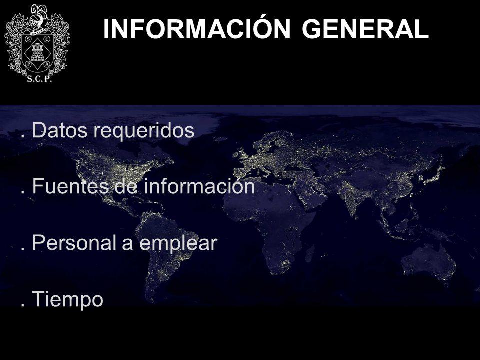 INFORMACIÓN GENERAL . Datos requeridos . Fuentes de información
