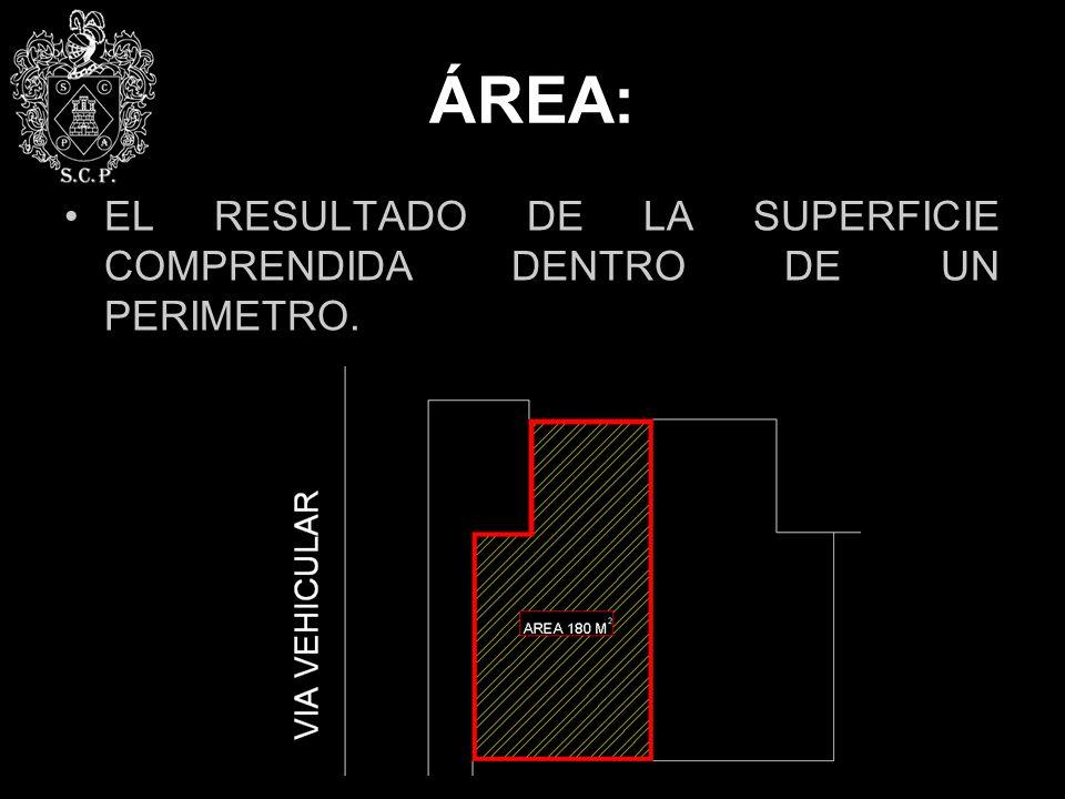 ÁREA: EL RESULTADO DE LA SUPERFICIE COMPRENDIDA DENTRO DE UN PERIMETRO.