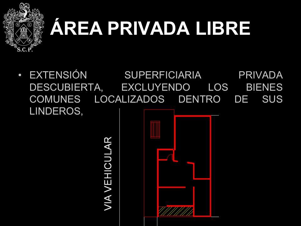 ÁREA PRIVADA LIBRE EXTENSIÓN SUPERFICIARIA PRIVADA DESCUBIERTA, EXCLUYENDO LOS BIENES COMUNES LOCALIZADOS DENTRO DE SUS LINDEROS,