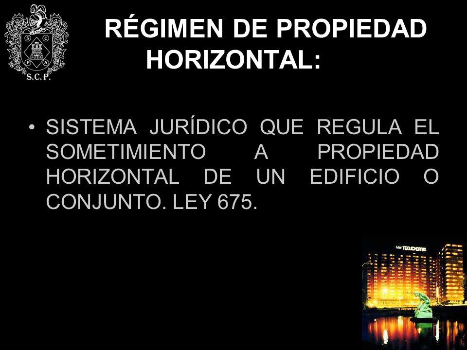 RÉGIMEN DE PROPIEDAD HORIZONTAL: