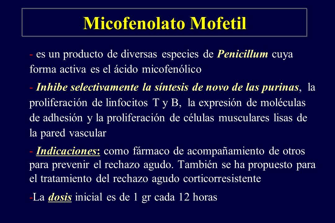 Micofenolato Mofetil - es un producto de diversas especies de Penicillum cuya forma activa es el ácido micofenólico.
