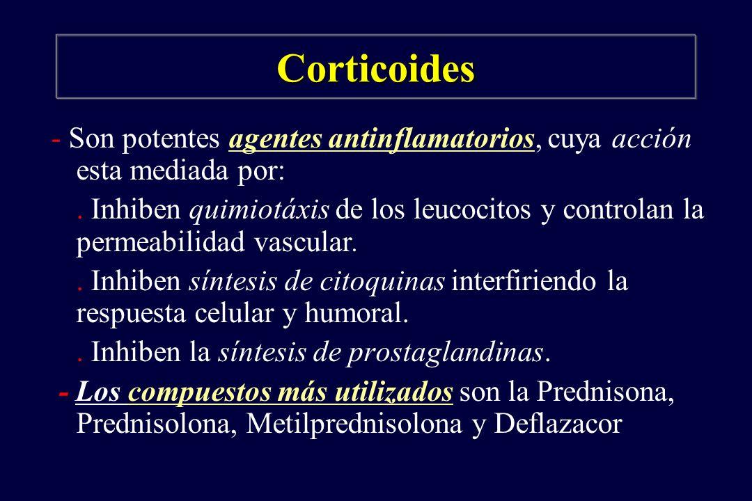 Corticoides - Son potentes agentes antinflamatorios, cuya acción esta mediada por: