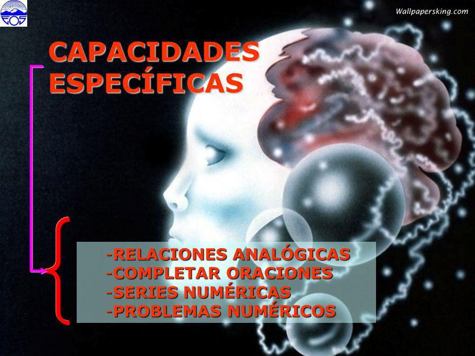 CAPACIDADES ESPECÍFICAS RELACIONES ANALÓGICAS COMPLETAR ORACIONES