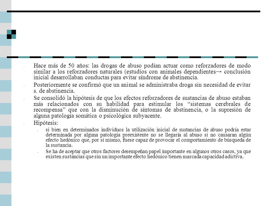 Hace más de 50 años: las drogas de abuso podían actuar como reforzadores de modo similar a los reforzadores naturales (estudios con animales dependientes→ conclusión inicial desarrollaban conductas para evitar síndrome de abstinencia.