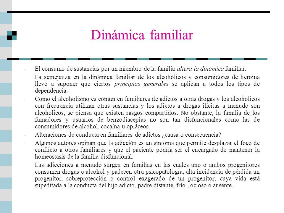 Dinámica familiar El consumo de sustancias por un miembro de la familia altera la dinámica familiar.