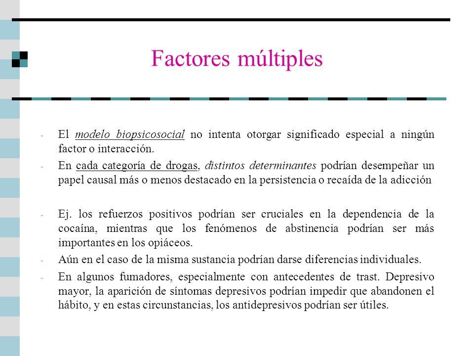 Factores múltiplesEl modelo biopsicosocial no intenta otorgar significado especial a ningún factor o interacción.