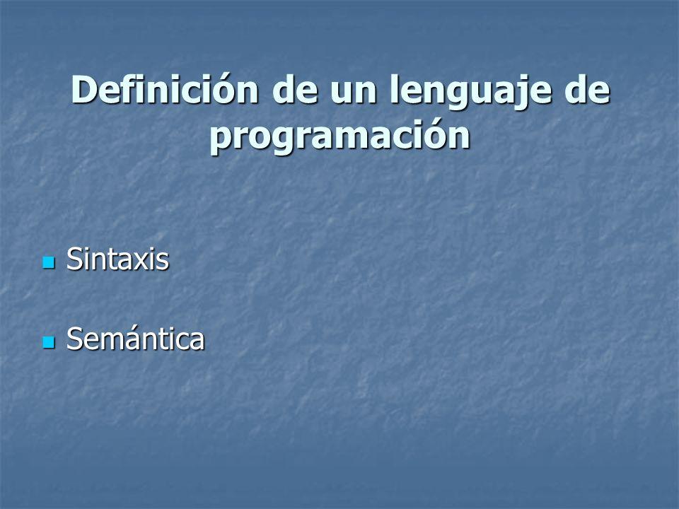 Definición de un lenguaje de programación