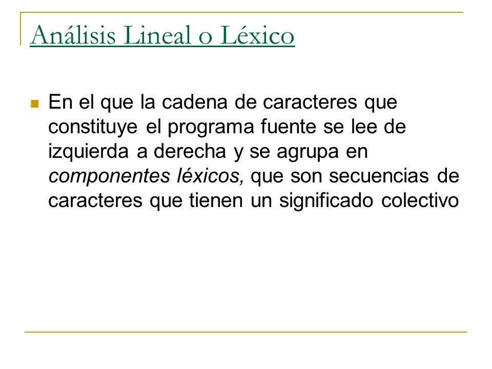 Análisis Lineal o Léxico