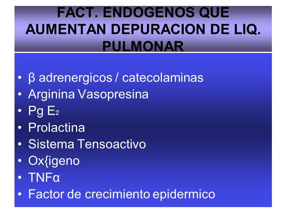 FACT. ENDOGENOS QUE AUMENTAN DEPURACION DE LIQ. PULMONAR