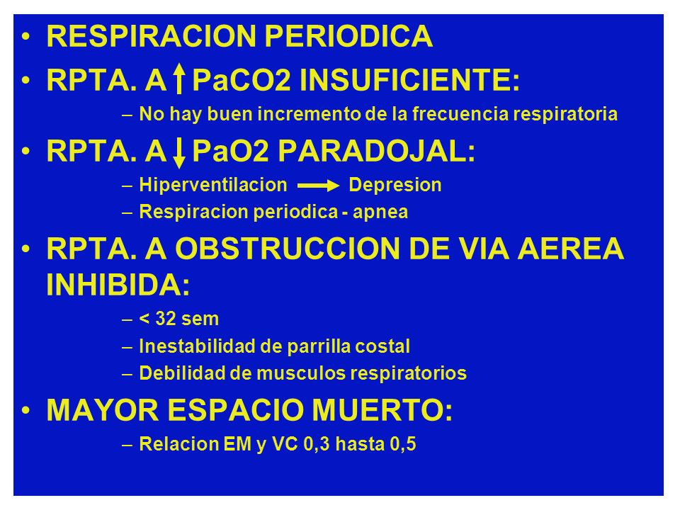 RESPIRACION PERIODICA RPTA. A PaCO2 INSUFICIENTE:
