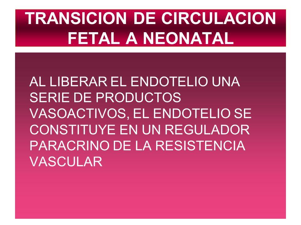 TRANSICION DE CIRCULACION FETAL A NEONATAL