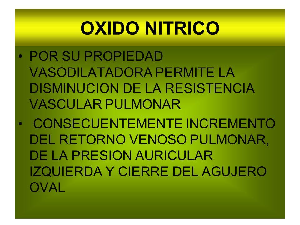 OXIDO NITRICO POR SU PROPIEDAD VASODILATADORA PERMITE LA DISMINUCION DE LA RESISTENCIA VASCULAR PULMONAR.