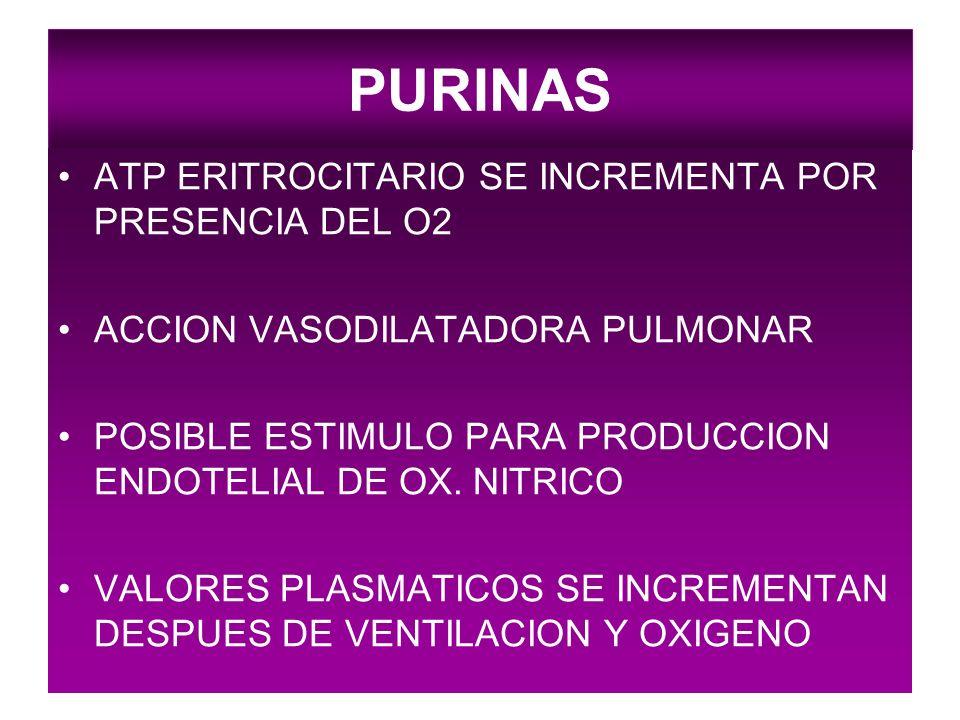 PURINAS ATP ERITROCITARIO SE INCREMENTA POR PRESENCIA DEL O2