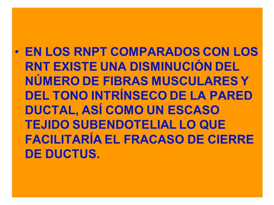EN LOS RNPT COMPARADOS CON LOS RNT EXISTE UNA DISMINUCIÓN DEL NÚMERO DE FIBRAS MUSCULARES Y DEL TONO INTRÍNSECO DE LA PARED DUCTAL, ASÍ COMO UN ESCASO TEJIDO SUBENDOTELIAL LO QUE FACILITARÍA EL FRACASO DE CIERRE DE DUCTUS.