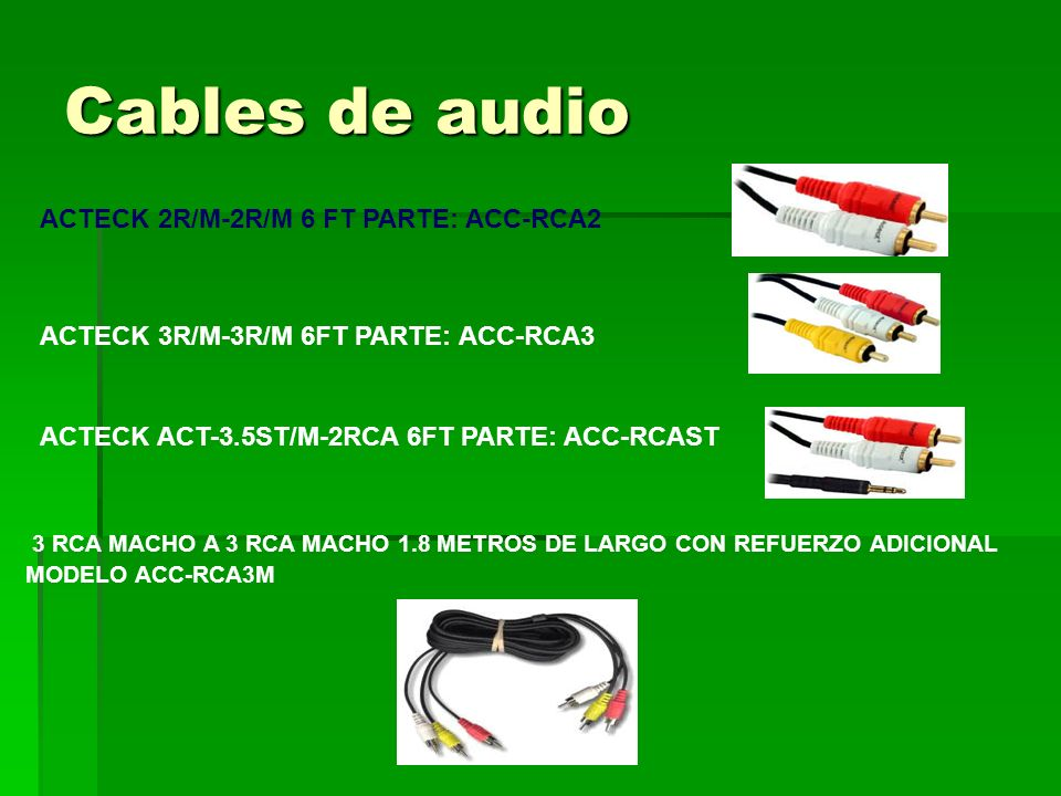 Cables de audio ACTECK 2R/M-2R/M 6 FT PARTE: ACC-RCA2