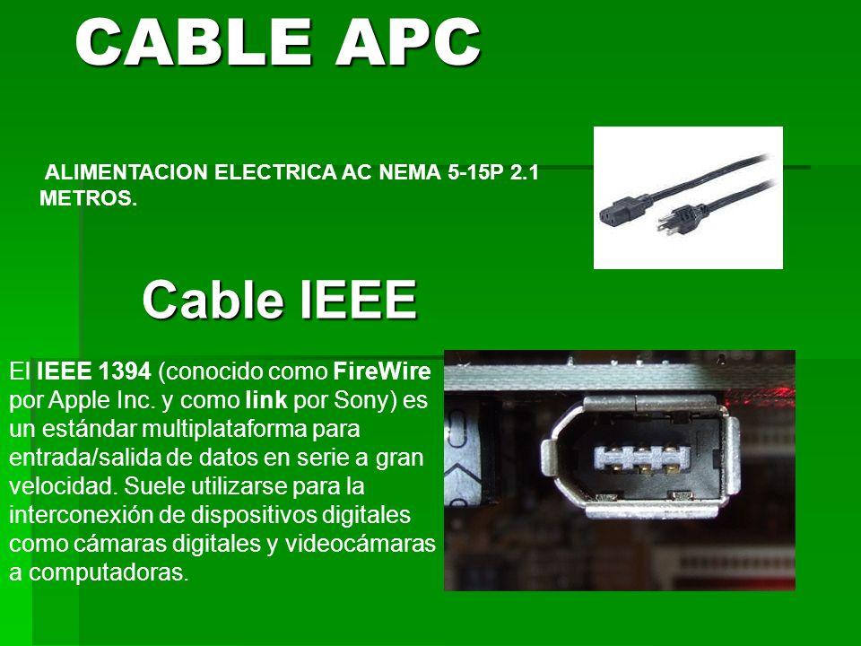 CABLE APC ALIMENTACION ELECTRICA AC NEMA 5-15P 2.1 METROS. Cable IEEE.