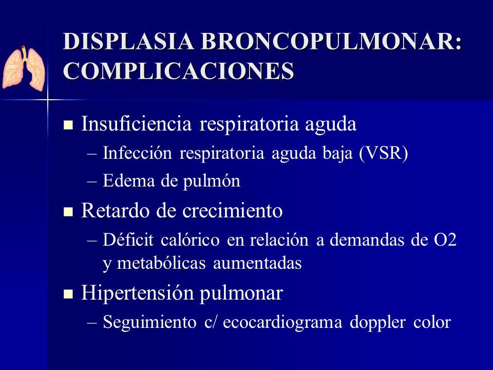 DISPLASIA BRONCOPULMONAR: COMPLICACIONES