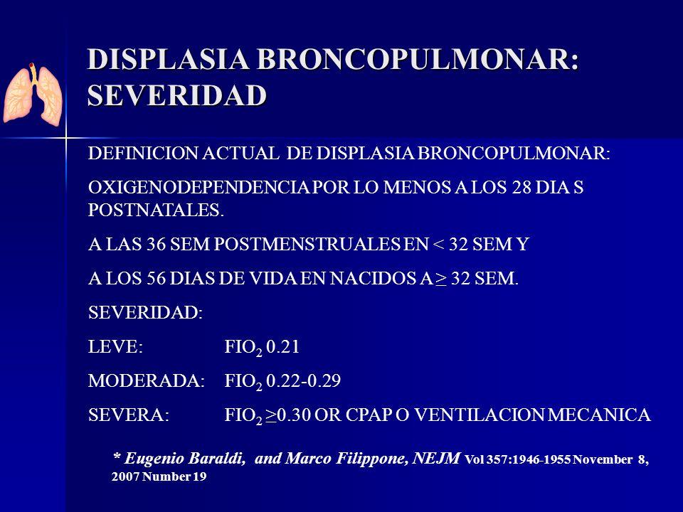 DISPLASIA BRONCOPULMONAR: SEVERIDAD