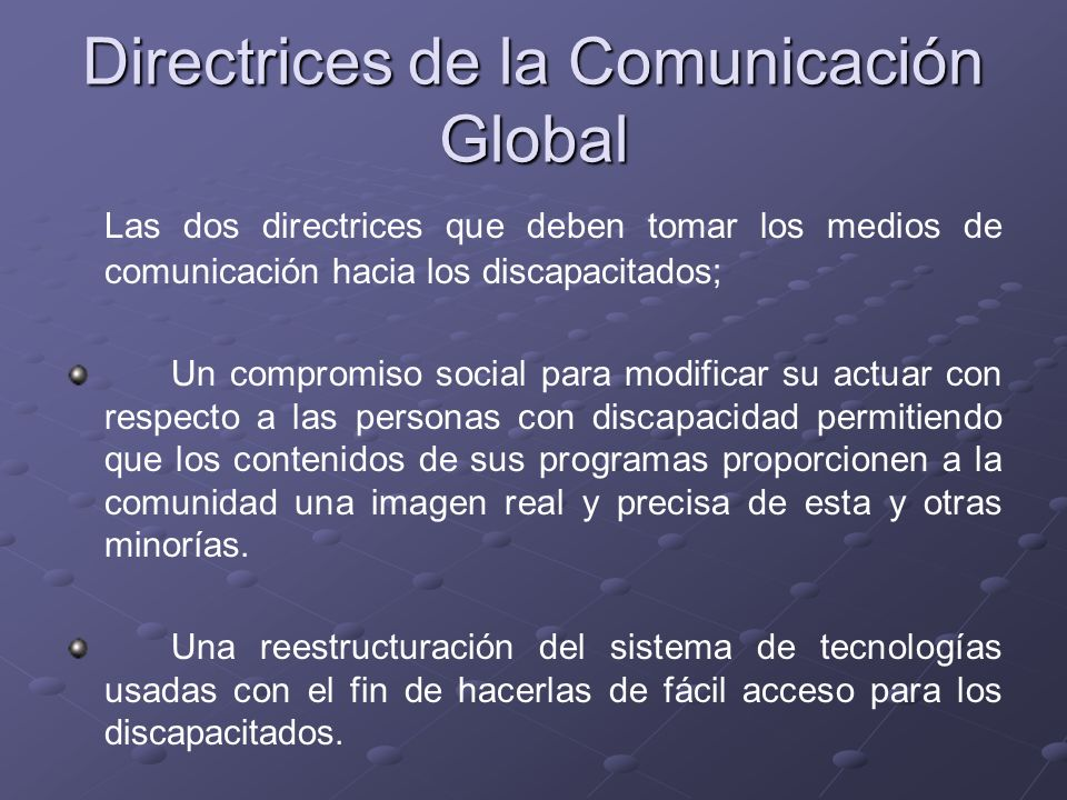 Directrices de la Comunicación Global