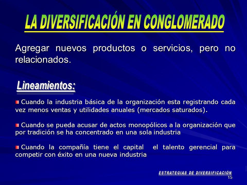 LA DIVERSIFICACIÓN EN CONGLOMERADO