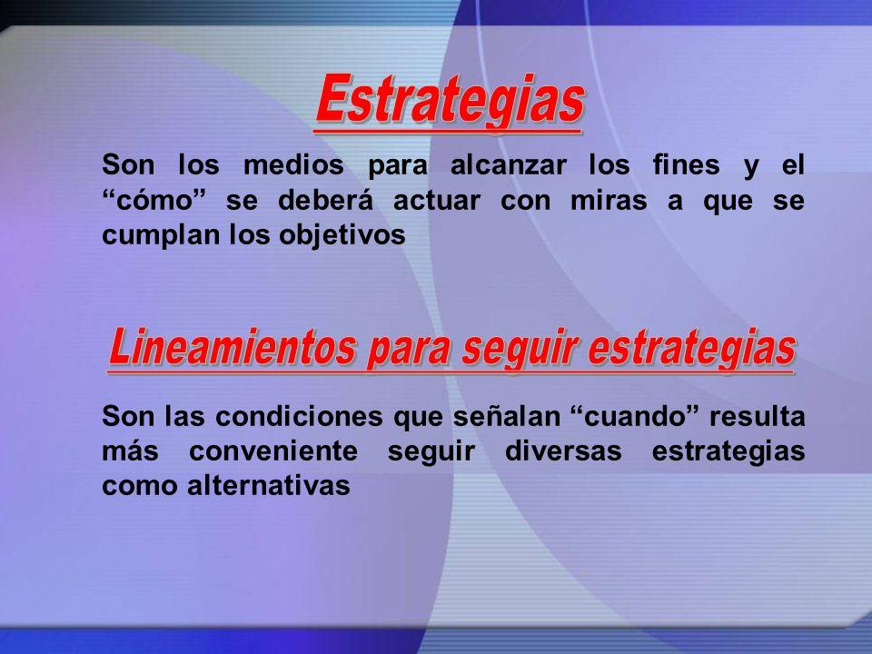 Lineamientos para seguir estrategias