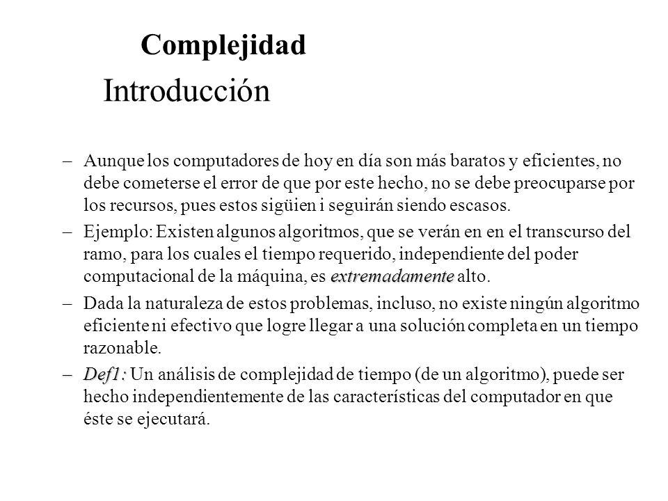 Introducción Complejidad