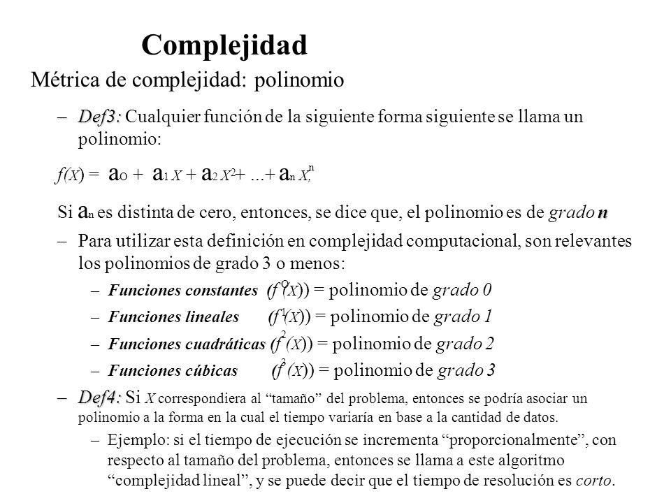 Métrica de complejidad: polinomio