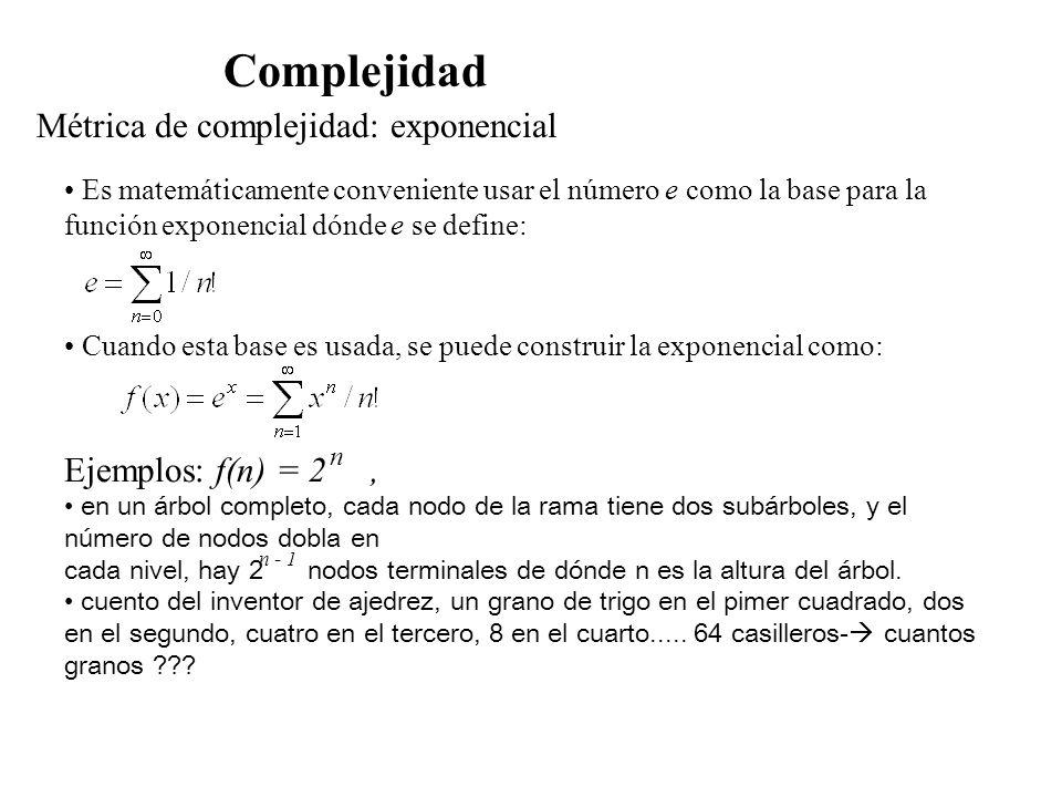 Métrica de complejidad: exponencial