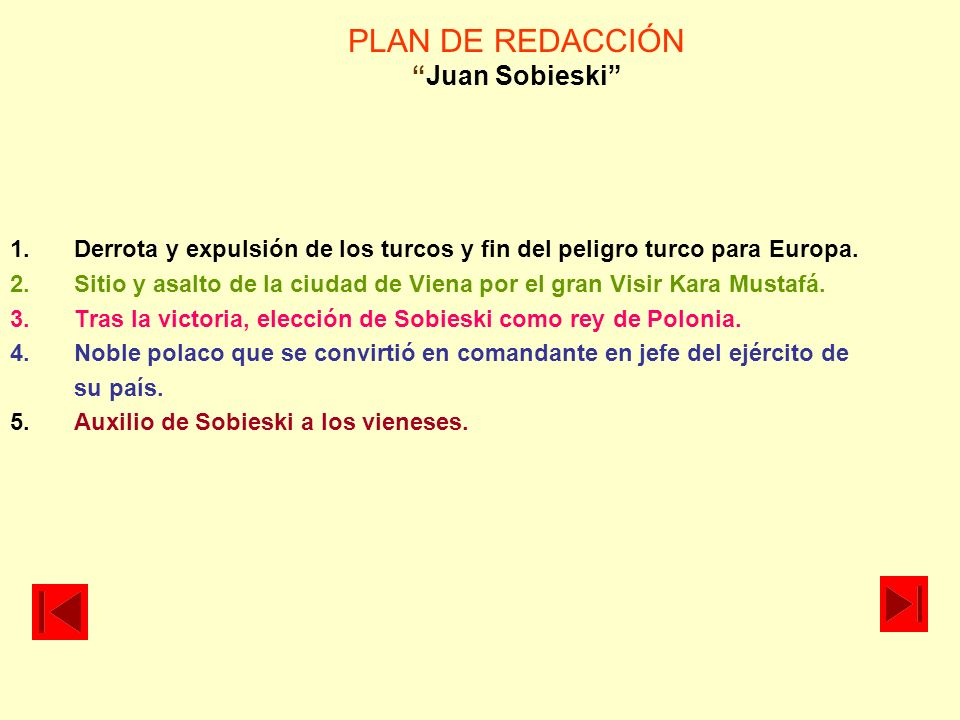 PLAN DE REDACCIÓN Juan Sobieski