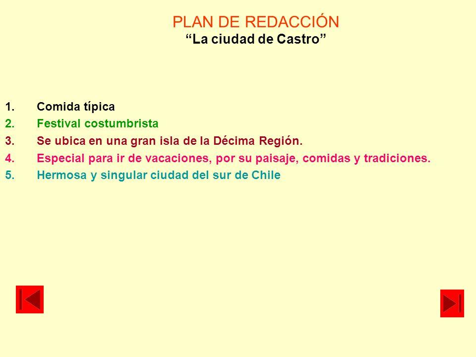 PLAN DE REDACCIÓN La ciudad de Castro