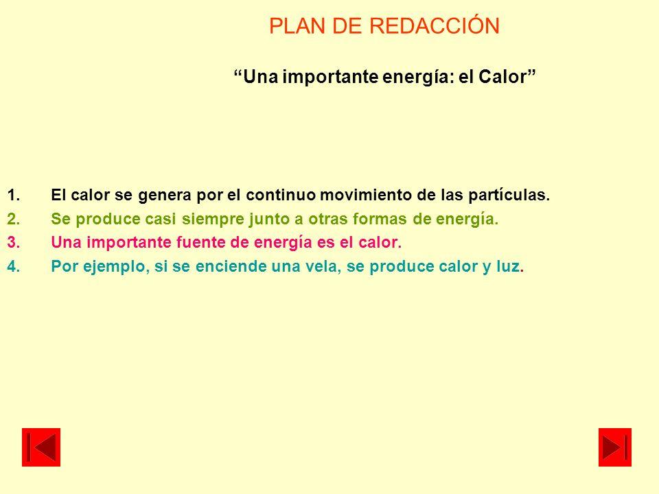 PLAN DE REDACCIÓN Una importante energía: el Calor