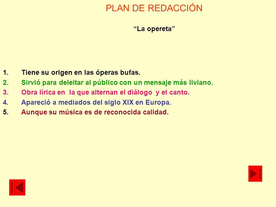 PLAN DE REDACCIÓN La opereta
