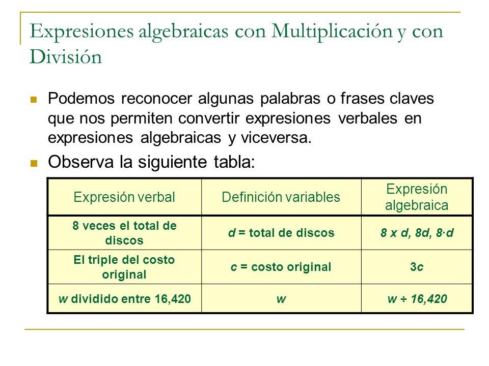 Expresiones algebraicas con Multiplicación y con División